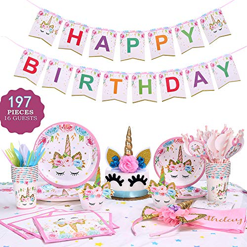 GONGYIHONG Unicorn Birthday Party Supplies Set, Serves 16, Colorful -