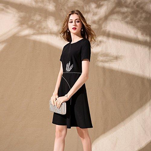 Cotylédons Robes Courtes De Couleur Unie Pour Les Femmes À Manches Courtes Avec Encolure Dégagée Taille Haute Une Robe Formelle Nouvelle Ligne Noire