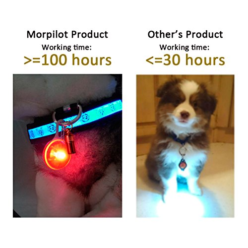 morpilot Pet Dog Collar Light Clip On, Dog Lights for Collars, Dog Collar Lights Led for the Dark, Waterproof Safety Lights Dogs Cats Night Walking, Flashing Dog Light with 6 Extra Batteries(6 Pack)