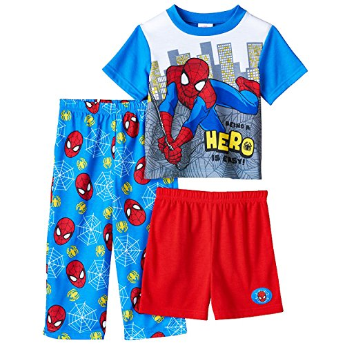 Spider-Man Boys 3 piece Pajamas Set (3T, Hero Blue/Red)