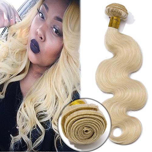 7A Blonde Wavy Hair Bundles Unprocessed Brazilian Human Hair Body Wave Sew in Hair Weave Extensions 100g/Bundle 20 Inch #60 Platinum Blonde (Best Sew In Weave Techniques)