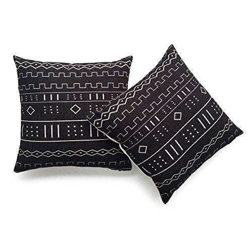 Hofdeco Decorative Throw Pillow Cover HEAVY WEIGHT Cotton Linen African Mud Cloth Ethnic Black Geo Stripe 18x18 45cm x 45cm Set of 2