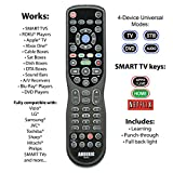 """Made for Roku"" & Smart TVs - Anderic Universal 4-Device Learning Remote for All TV (HDTV, Smart TV, Apple TV, Roku TV), Roku Player, BluRay, Audio, Vizio TV, Insignia Roku TV, Sharp Roku TV - RRU401"
