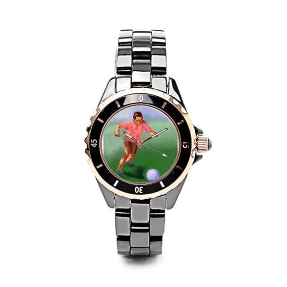eleganceelegant reloj de lujo marcas Arlene cerámica reloj de pulsera para mujer negro/oro las mujeres: Amazon.es: Relojes