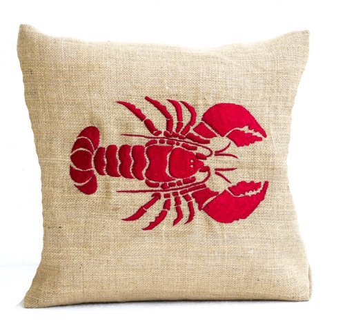 Check Decorator Fabric (Amore Beaute Handcrafted Red Lobster Embroidered Pillow Cover in Natural Burlap - Sea Pillow Cover Nautical Accent for Beach Decor - Embroidered Pillow Cover (16