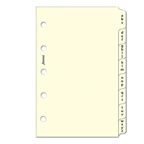 Filofax Mini Baumwolle creme A-Z Index 3/Buchstaben