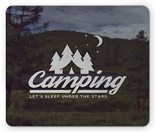 Camper Mouse Pad by Lunarable, Campin Logo Emblem over Tree Forest Background Journey to Wilderness Design, Standard Size Rectangle Non-Slip Rubber Mousepad, White Army - Tree Emblem