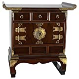 Beautiful and practical Japanese style decorative chest in a traditional antique design, with convenient drawer and cabinet space. An attractive end table, nightstand, or lamp table hand crafted using sturdy east Asian joinery and cabinetry, ...