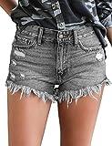 luvamia Women's Mid Rise Jean Shorts Frayed Raw Hem Denim Shorts Grey, Size L