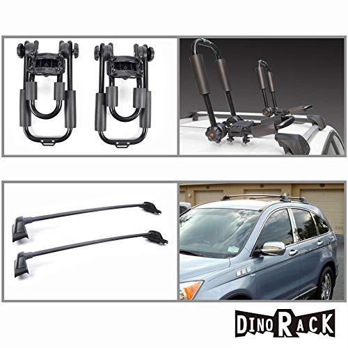 Mgpro New Blk Aluminum Roof Rack Cross Bars+J-Bar Kayak Carriers For 2007-2010 Honda CR-V