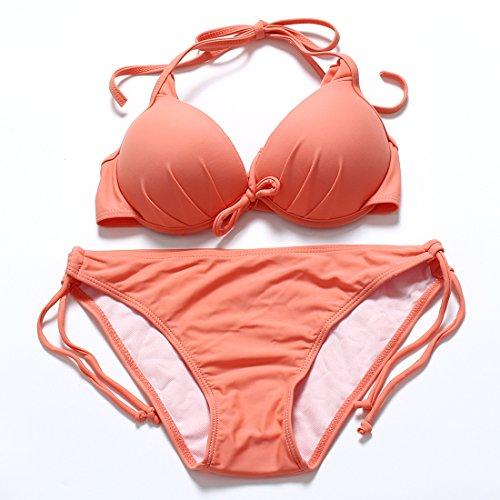 YONGYI Dividir colores ultra puro bikini femenino Copa de molde de acero y 3 bañera de hidromasaje de esquina girl trajes de baño Naranja