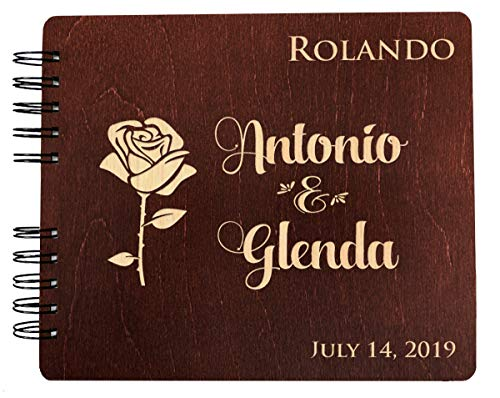 Flower Engraved Anniversary Wedding Guest Book 8.5