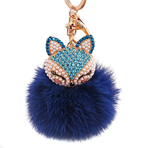 Lisin key chain,New Fur Ball with Artificial Fox Head Inlay Pearl Rhinestone (Dark - Sells Who Glasses Computer