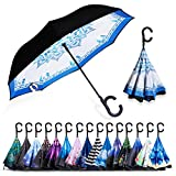 ZOMAKE Auto Open Inverted Umbrella Double Layer Reverse Umbrella, UV Protection Windproof Straight Umbrella Inside Out Umbrella for Car Rain Outdoor with C-Shaped Handle Blue and White Porcelain