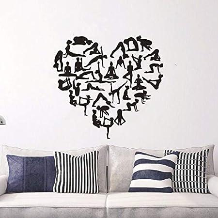 Etiqueta de la pared Pose de yoga en forma de corazón Tatuajes de pared Centro de yoga Decoración Chica Pose Vinilo de la pared Cartel de la yoga Diseño de papel tapiz60x57cm: