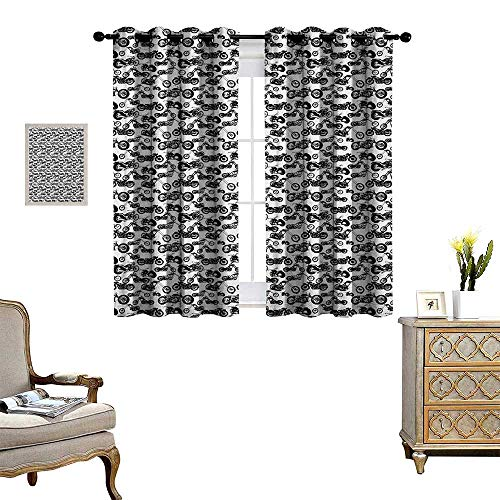 - Warm Family Motorcycle Window Curtain Fabric Retro Chopper Pattern Monochrome Motorbike Design Adventure Cruising Theme Drapes for Living Room W72 x L72 Black White