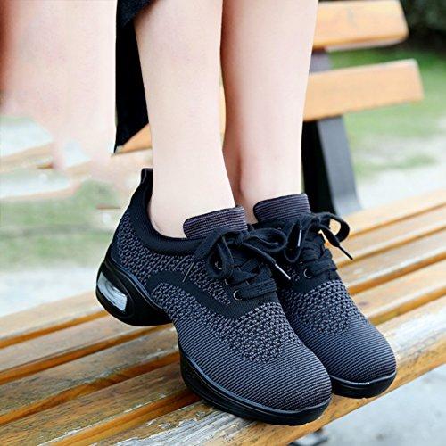 Suave Medio De Color Talón Primavera UK6 Colores L De 250mm De Estilo 5 Negro Fondo Nuevo Tamaño Zapatos Mujeres Respirable Baile Malla Botines PENGFEI Las Rojo 4 EU40 qHC8PC