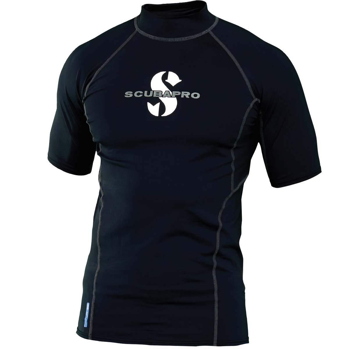 Scubapro Black Rash Guard Mens Short Sleeve (UPF50) - Black - L by Scubapro