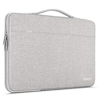 MOSISO Laptop Sleeve 360 Protective Case Bag Compatible with 13-13.3 inch MacBook Pro, MacBook Air, Notebook Computer, Polyester Briefcase with Trolley Belt, Gray