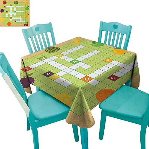 longbuyer Word Search Puzzle,Customized Tablecloth,Vivid Graphic Summer Fruits