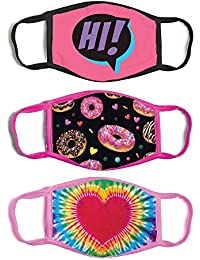 3-Pack Kid Fashionable Germ Protection, Reusable Fabric Face Mask Age, Girls