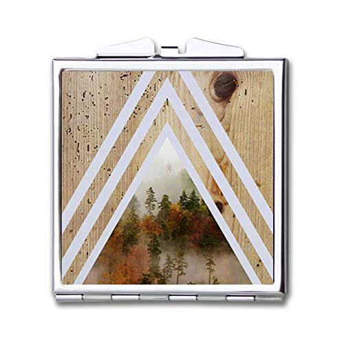 Makeup Mirror for Women Girls Forest Tree Bark Wood Pattern Design Light -