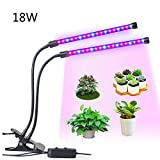 Cheap Plant Grow Light for Indoor Plants Dual Head LED 18W Dimmable 2 Levels Grow Lamp with Adjustable Flexible 360 Degree Gooseneck for Hydroponics Greenhouse Gardening Plants by LEDMEI