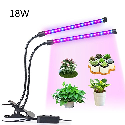 18W Dual Head LED Plant Grow Light 2 Dimmable Levels Grow Lights Desk Clip with Adjustable 360° Gooseneck for Indoor Hydroponics Greenhouse Garden Home Office Plants by LEDMEI by LEDMEI