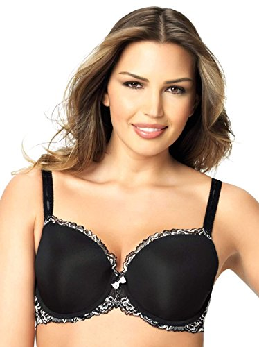 Paramour by Felina Women's Madison Contour T-Shirt Bra, Black Crossdye, 36DDD