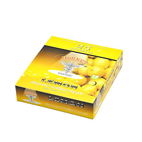 Hornet Flavored Rolling Papers, King Size 15 Kinds of Juicy Fruit Flavored with Glass Holder,1BOX 25 Packs of 32 Leaves, 800Papers,110mm (Lemon)