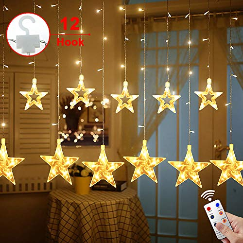 Cheap  Star Curtain Lights,MaLivent 12 Stars 108pcs LED Waterproof Linkable Curtain String Lights..