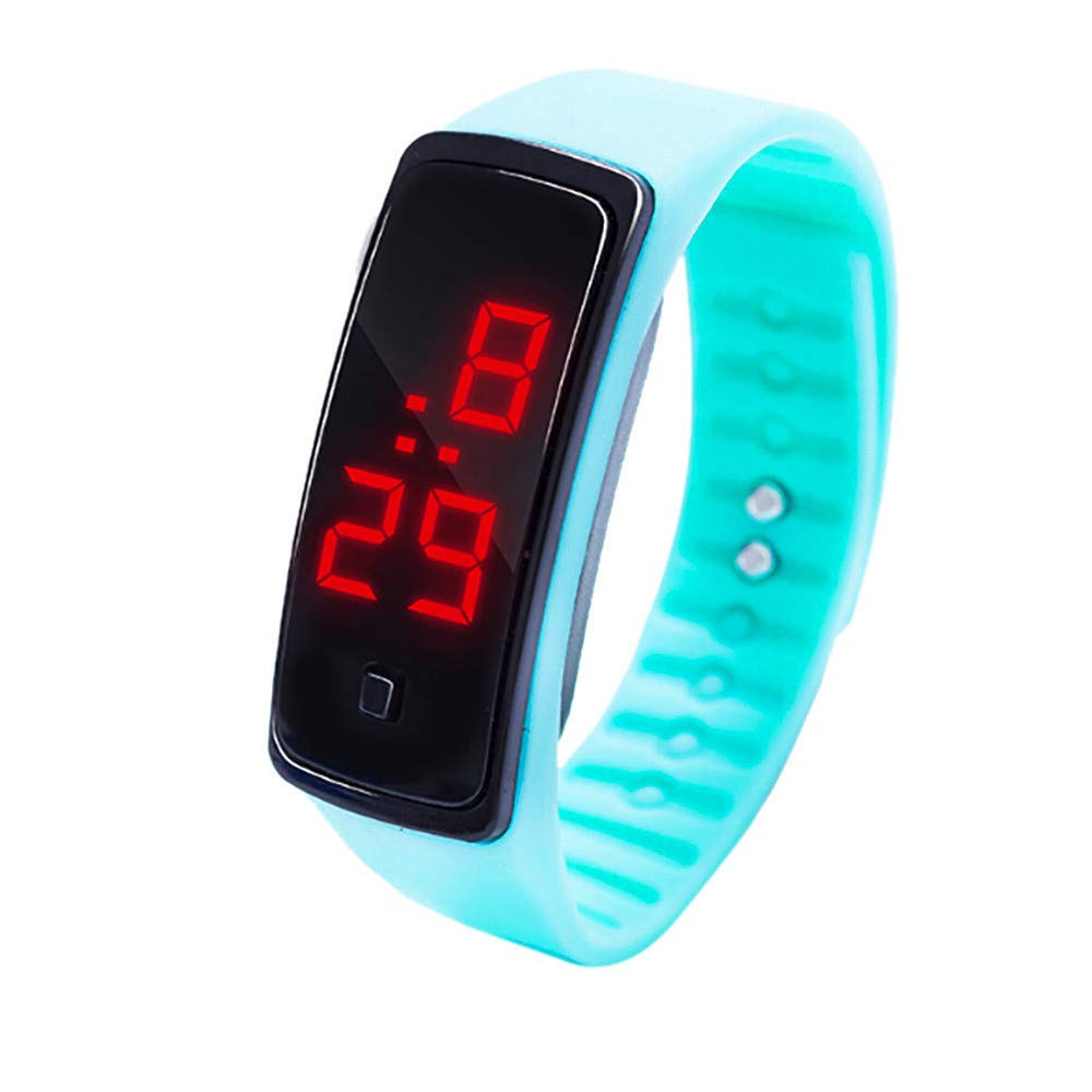 NRUTUP LED Digital Display Bracelet Watch Children's Students Silica Gel Sports Watch Hot Sales(Light blue,Free Size)