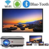 Android 6.0 Projector WiFi Bluetooth 3500 Lumen Full HD 1080P Home Theater Projector HDMI TV AV USB Audio Port for iPhone Smartphone Video Projector for Indoor Outdoor Basement