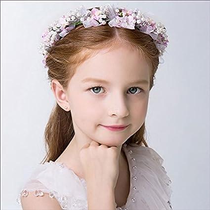 KMALL Rosa coroncina fiori capelli regolabile fiore per sposa damigella  strass perlina d onore bambina 5b737e5158e5