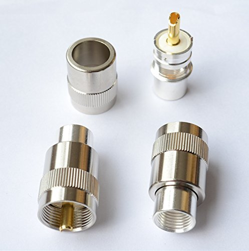 5 pack - PL259 UHF Male Golden Teflon Connector with Golden Tip for RG8 RG214 RG213 9913 LMR400 Type Coax Cable - - Ham Radio CB