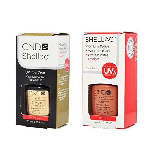 リンス母音興奮CND Shellac UVトップコート 7.3m l  &  UV カラーコー< Cocoa > 7.3ml [海外直送品]