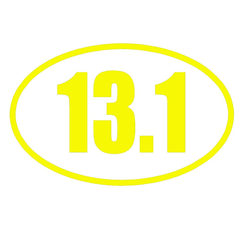 13.1 Halfマラソン実行楕円形OL ( 2パック)ビニールデカールby stickerdad – サイズ: 3.5インチ,カラー:イエロー – Windows、壁、バンパー、ノートパソコン、ロッカー、など。   B07658YBWS