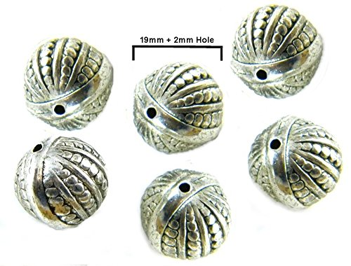 (12PCS 19mm Metalized Antique Silver Plated Light Weight Melon Beads)