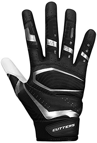 Cutters Football Gloves, Black/White