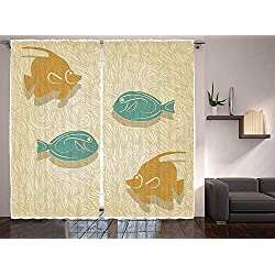 """T&H Home Fish and Wave Curtains - Aquarium Marine Ocean Themed Fishing Decor Window Drapes 2 Panel Set for Living Room Bedroom - 80"""" W by 63"""" L,"""