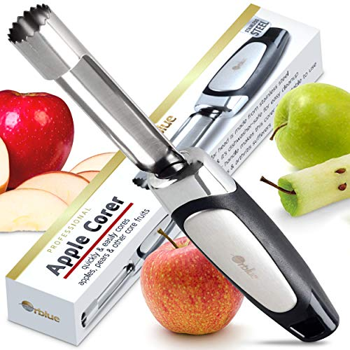 - Orblue Apple Corer - Best Stainless Steel Fruit Core Remover Tool with Soft Rubber Handle