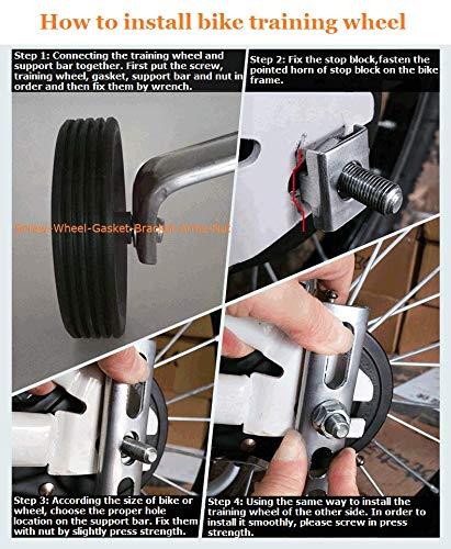 Negro ZOSEN 1 par de estabilizadores de Bicicleta Ruedas de Entrenamiento de Bicicleta para ni/ños Accesorios de Bicicleta Ruedas de Apoyo para 12 14 16 18 20 Pulgadas Bicicleta