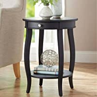 Better Homes and Gardens Round Accent Table with Drawer, Black
