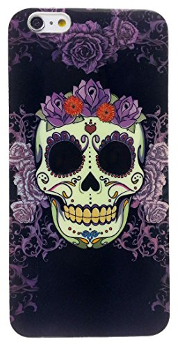 Apple iPhone 6 Plus and 6s Plus 5.5 inches Flexible TPU Case Impact Absorb Protection Cover Easy Install Snap On Off Perfect Fit Slim Lightweight, Skull and Flowers
