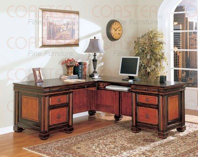 Coaster Two Tone Home Office L Shaped Executive Desk