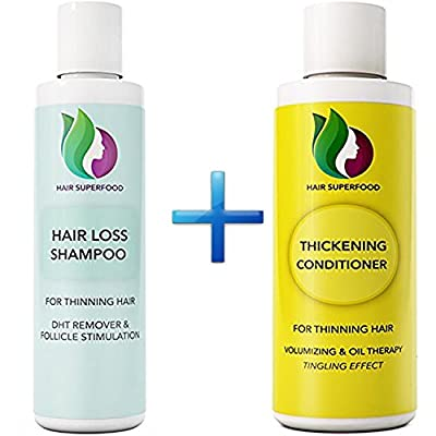 Anti-Dandruff Shampoo and Conditioner for Hair Loss + Thinning Hair - Natural Hair Care Set - Anti Breakage Volumizing Formula - Prevent Hair Loss - Promote Hair Growth - Sulfate Free for Men + Women