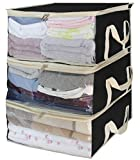 SLEEPING LAMB Storage Bag Organizers Under Bed Clothes Storage containers for Clothing, Blanket, Comforter in Bedroom, Closet,3 Piece Set(Black)