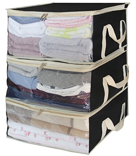 Storage Bag Organizers under bed clothes storage containers for Clothing, Blanket, comforter in Bedroom, Closet,3 Piece Set(Black)