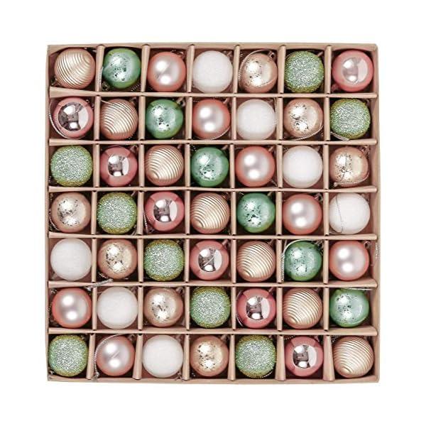 Valery Madelyn Palle di Natale 49 Pezzi 3 cm Palline di Natale, Elegante Palazzo Verde Menta e Oro Rosa Infrangibile Palla di Natale Ornamenti Decorazione per la Decorazione Dell'Albero di Natale 1 spesavip