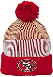 NFL Youth Boys Team Stripe Cuff Pom Hat-Crimson-1 Size, San Francisco 49ers